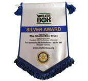 Shelterbox award for sponsoring over 50 shelterboxes
